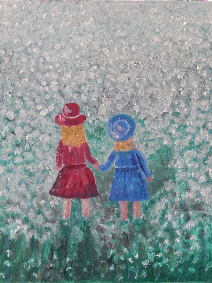 Little girls walking on a  flower field